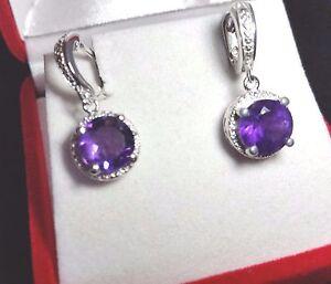 Rich Purple AMETHYST & PLATINUM OVER 925 STERLING SILVER Huggie Earrings w CZ