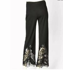 Valentino 100% Wool Black Wide Pants with Sequin+ Lace Detail . Italy. Size 8US
