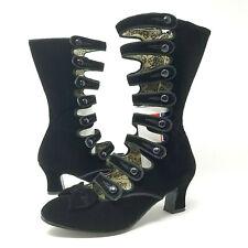 Bordello Whimsey 115 Black Velvet Calf Boots 7 8 Steampunk Victorian Burlesque