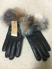 Brand New Leather Fox Fur Cashmere Gloves Large 8 Brown