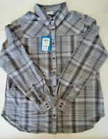 Brand New Columbia Omni Wick Long Sleeve Button Up  Paid Flannel Women's Size XL