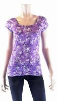 TNO Purple Floral Print Stretch Shirt Top Womens size S Pull Over Flowy Tee CHOP
