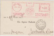 ITALIA 1938 TIMBRO ROSSO CONSIGLIO ISTITUTI OSPITALIERI MILANO X BERGAMO.