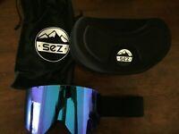 SEZ ski goggles unisex, brand new full revo blue, free shipping, compare OAKLEY