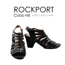 Women's 7.5 Rockport Cobb Hill Collection Black Leather Fashion High Heel Shoes