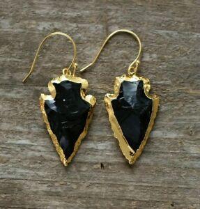 Natural Rough Raw Onyx Earrings Gold Boho Druzy Geode Arrow Arrowhead Black - UK