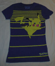 Mighty Fine Presents Pokemon Pikachu T Shirt Top Womens S Gray & Yellow Striped
