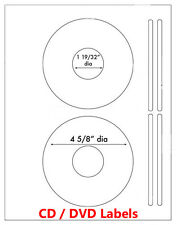 1000 Laser and Ink Jet Labels CD DVD Laser 500 sheets Size 5931 & 8931 Template