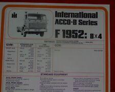 International ACCO B Ser. F1952 8x4, Truck, sales brochure / specification sheet