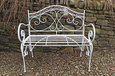 Folding antique grey 2 seater metal garden bench - Heritage design