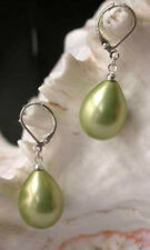 13x18mm Apple Green Shell Pearl Drop/Dangle Hook Earrings AAA