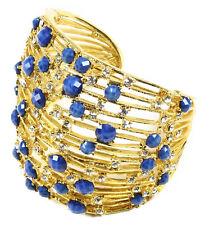 Crystal Wide Cuff Bracelet Brc 4013 Amrita Singh Gold Tino Island Lapis Resin