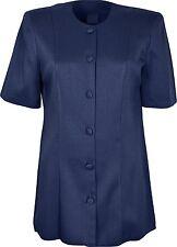 Ladies Womens Round Neck Button Through Top Short Sleeves