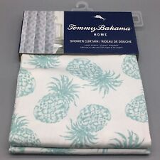 Tommy Bahama Fabric Shower Curtain Tossed Pineapple Tropical Sea Green Cotton