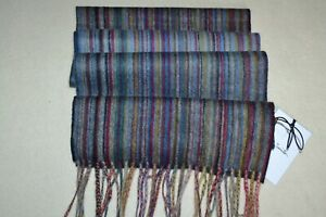 Paul Smith Mens Muted Signature Stripe Cashmere Scarf Brand New