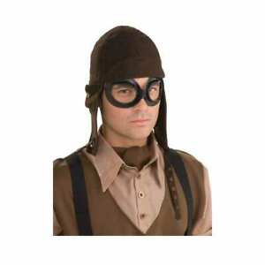 STEAMPUNK AVIATOR KIT HELMET & GOGGLES Mens Adults Fancy Dress Costume Accessory