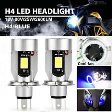 2X H4 9003 HB2 Motorcycle Headlight Bulb Hi/Lo Angel Eyes Blue 6000K White 8-80V