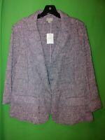 1881) NWOT J JILL sz 18 purple woven blazer jacket woven cotton blend new 18