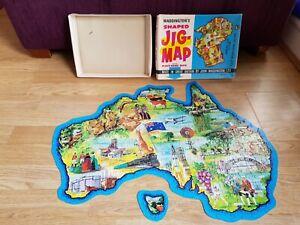 AUSTRALIA Shaped JIG MAP No. 565 John WADDINGTON Vintage 60s JIGSAW Box Complete