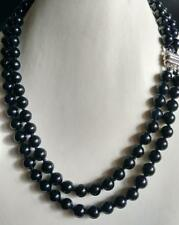 """2 rows 8MM natural black jade Magnet clasp necklace 17-18"""" LL001"""