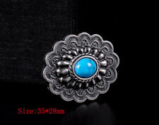10PCs 35*28MM Western Antique Silver Floral Turquoise Leathercraft Decor Conchos