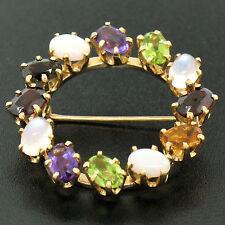 14k Yellow Gold 5.18ctw Wreath Brooch w/ Amethyst Garnet Moonstone Peridot Opal