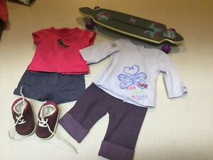 American Girl doll Clothing Lot & skateboard