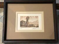 """Scott Fitzgerald Landscape Etching Print, Numbered & Signed, Framed 5"""" x 3 1/2"""""""