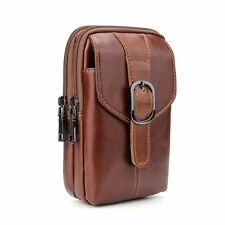 Leather Zip Bag Belt Clip Holster Pouch Case for iPhone 7 Plus / HTC U11 U Ultra