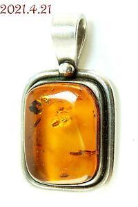 "Estate Modernist Golden Amber Sterling Silver 925 Rectangle Pendant 1-3/8"" Long"