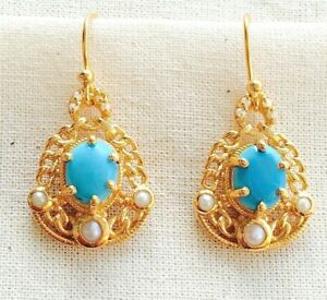 Incredible Turquoise & Pearl Vermeil 14K Gold Over Sterling Silver Earring