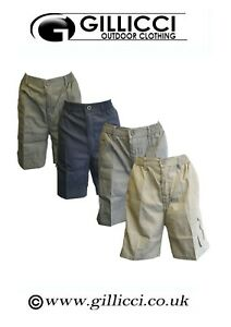 Mens Plain Summer Elasticated 7 Pockets Casual Shorts Lightweight Cargo Combat