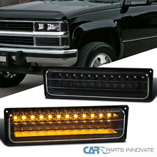 For 88-99 Chevy C10 GMC C/K LED Bumper Lights Parking Lamps Black Left+Right
