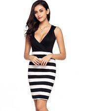 BAILEY BEAUTIFUL LADIES SIZE 14 BLACK WHITE STRIPE CROSSOVER STRETCH DRESS
