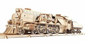 3D Puzzle Train V-Express Steam Train Tender Antique Train Engine for Adult