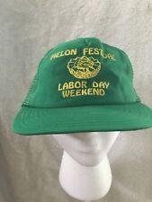 Vintage Milan Melon Festival Labor Day Milan Ohio Snapback Trucker Mesh Hat