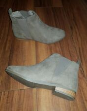WOMENS TRENDY NEW COMFY FLAT KHAKI BEIGE BROWN CHELSEA ANKLE BOOTS: SIZE 6 (39)