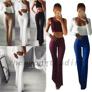 Sexy Office Lady Wear To Work High Waist Flare Wide Leg Trousers Yoga Pants