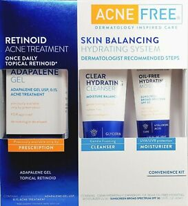 AcneFree Skin Balancing Hydrating System Kit Adapalene Topical Retinoid -3 Piece