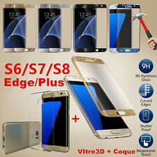 Vitre Film Verre Trempé total 3D Samsung Galaxy S6 S7 Edge S8 + Coque case TPU