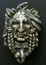 Indian Head Pin - Silver - Cowboy Country Western Brooch - Jewelry - NEW