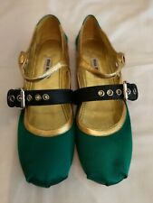 Miu Miu Satin Ballerina Flats Buckle Shoe Green uk 5 eu 38
