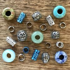 25 Dread Beads Gemstone Stainless Steel Pack 5/6mm Hole 3/16-1/4 Inch Dreadlock