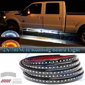 "2X 70"" Running Board LED Light Amber White Turn Signal DRL Side Step Strip Bar"