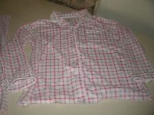 Aria ladies white plaid 2pc. pajama set size large