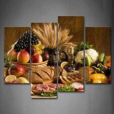 Fresh Food Fruit Bread Wall Art Painting Picture Canvas Photo Kitchen Decor Gift