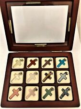 12  Gemstone crosses necklace pendants in finecrafted wood display box Christian