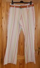 JACKPOT cream pink blue green beige candy stripe trousers bootleg flare 14 BNWT