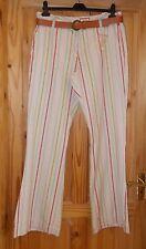 JACKPOT cream pink blue green beige candy stripe trousers bootleg flare 14 BNWT