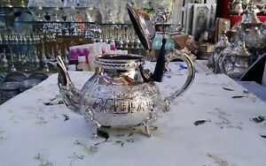Large Moroccan Teapot Handmade Serving 750 ml for 7 Tea Cups Brass Silver Plated